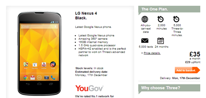 Nexus 4 is available once again at Three UK