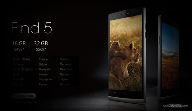 Oppo Find 5 will be released in China on January 29th