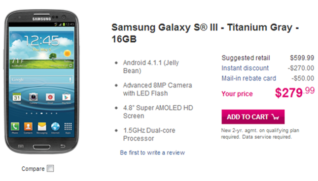 Titanium gray Samsung Galaxy S3 is now available from T-Mobile