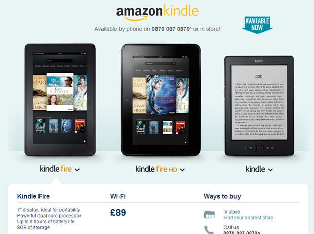 Carphone Warehouse offers the Amazon Kindle Fire for just £89