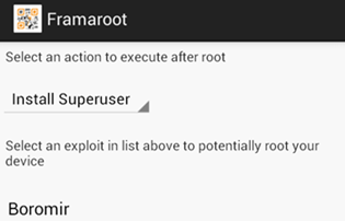 select install Superuser in Framaroot to root Micromax Canvas Gold A3002