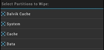 TWRP Custom Recovery Select Wipe Screen