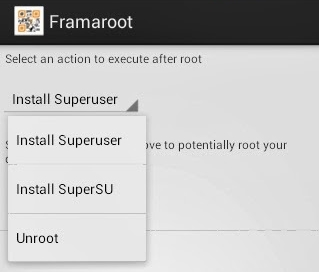 select the unroot option in Framaroot