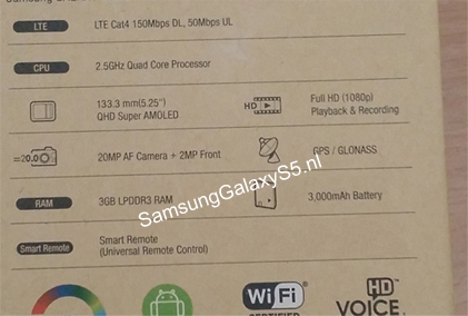 Samsung Galaxy S5 Leaked Details