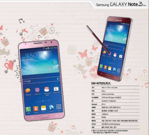 Samsung Galaxy Note 3 Neo Pink