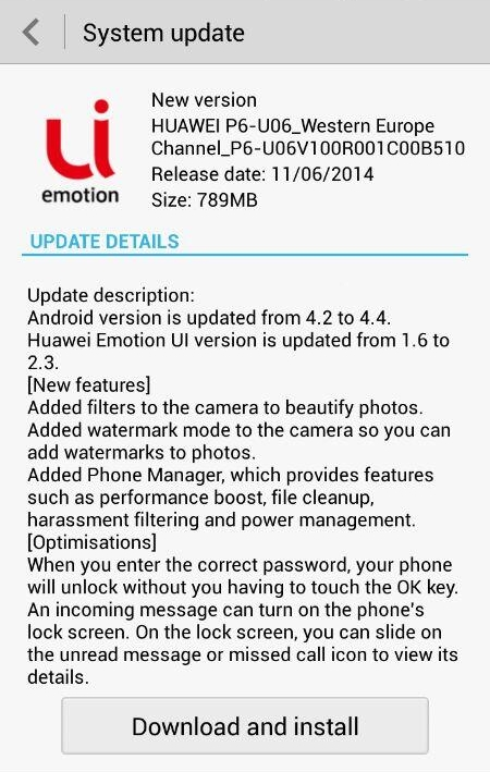 Huawei Ascend P6 KitKat Update