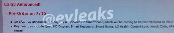 LG G3 Verizon Leaked