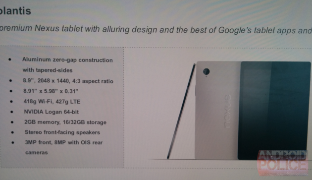 Nexus 8 Specifications Leaked