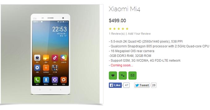 Xiaomi Mi4 Listing