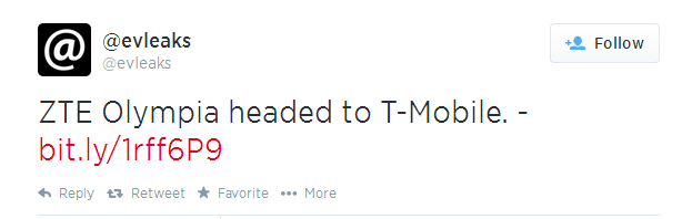 ZTE Olympia Tweet