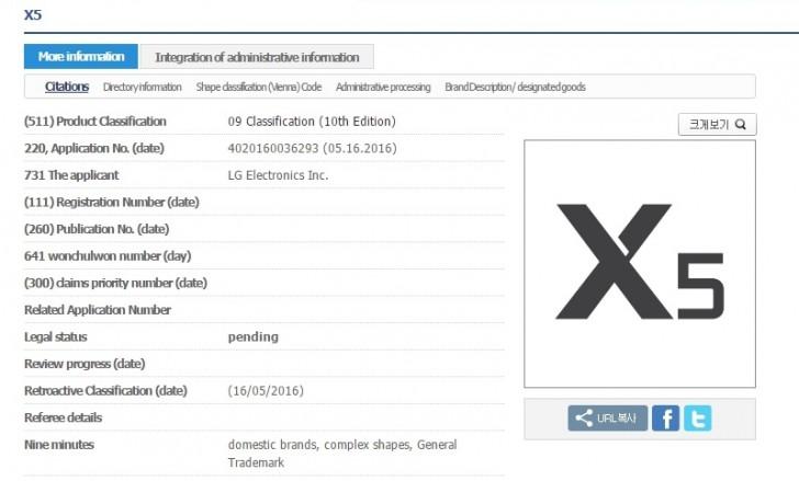 LG X5 Trademark
