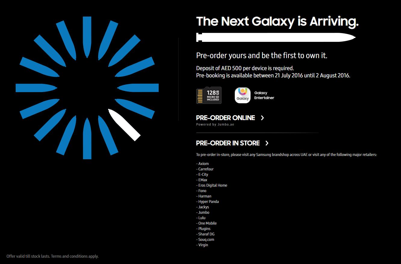 Galaxy Note 7 Pre-order UAE