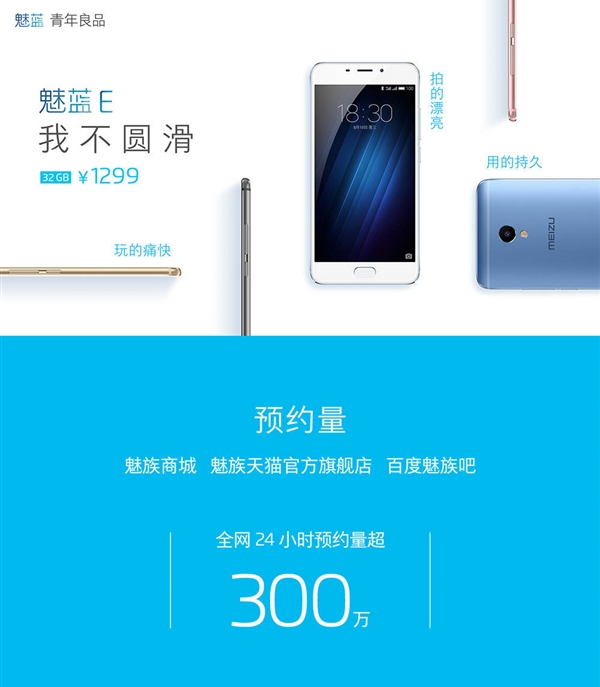 Meizu Blue Charm E 3 mil registrations