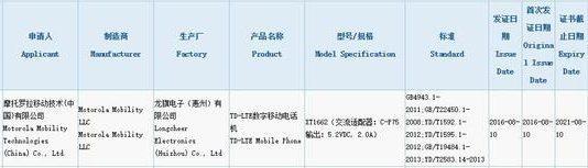 Moto X (2016) 3C