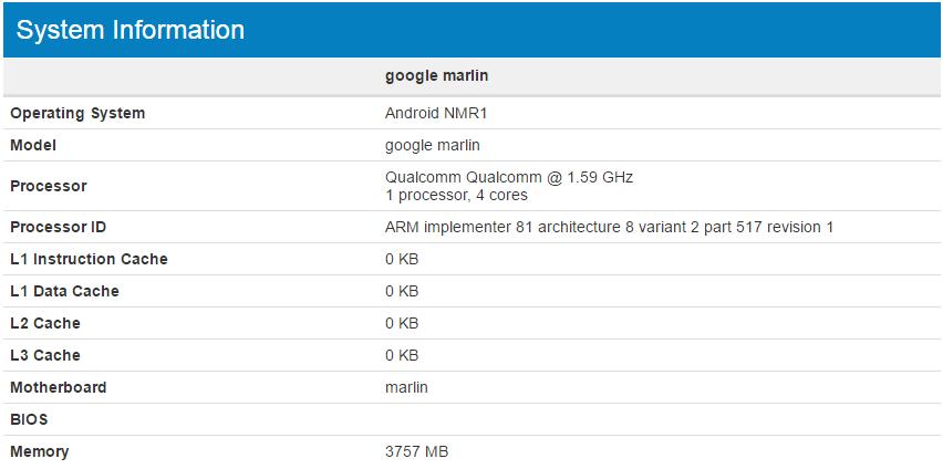 Google Marlin Geekbench