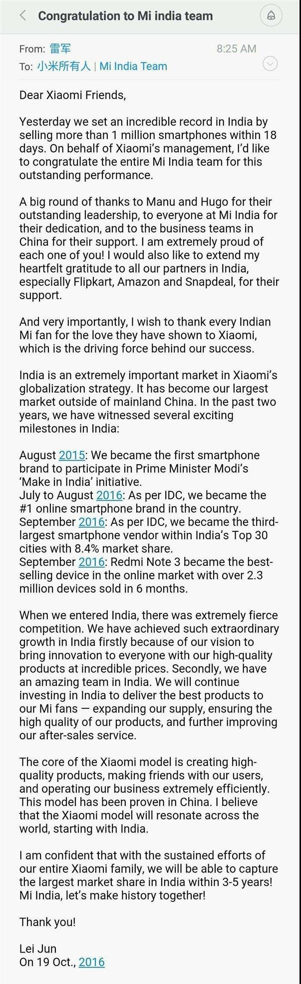 Lei Jun congratulates Mi India for setting a new milestone
