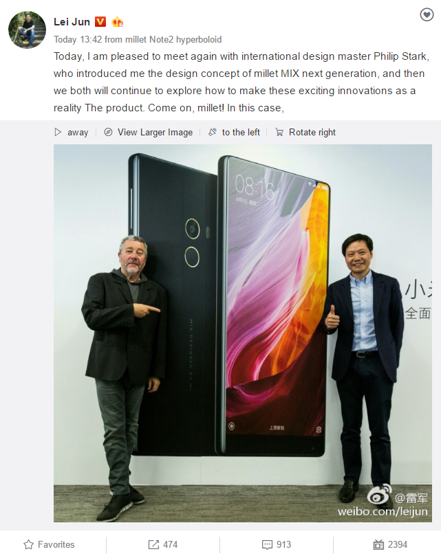 Philippe Starck will continue to design the upcoming Xiaomi Mi Mix 2