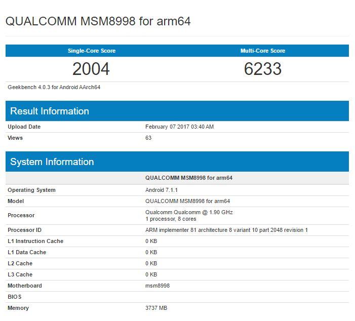 Qualcomm snapdragon 835 msm8998