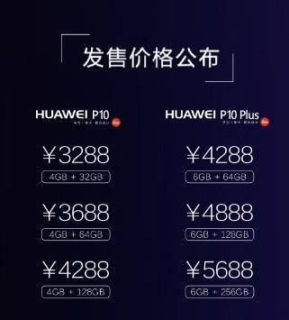 Huawei P10, P10 Plus Pricing