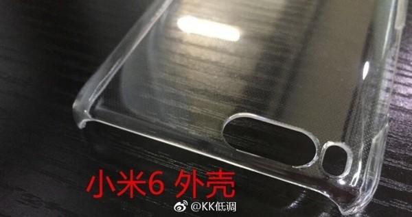 Xiaomi Mi6 phone casing revealed a dual-camera setup