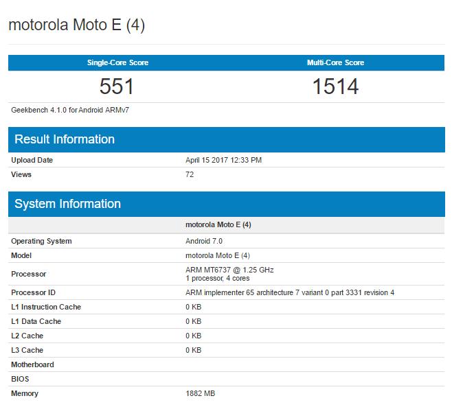 Moto E4 Geekbench
