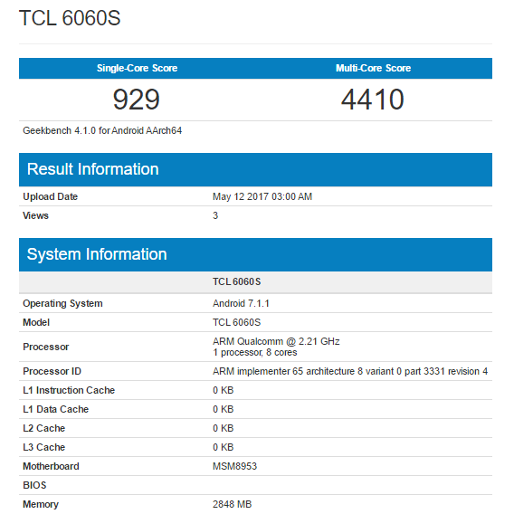 Alcatel Idol 5 Geekbench