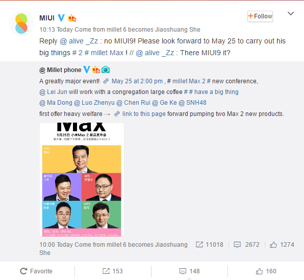 MIUI 9 update coming on May 25