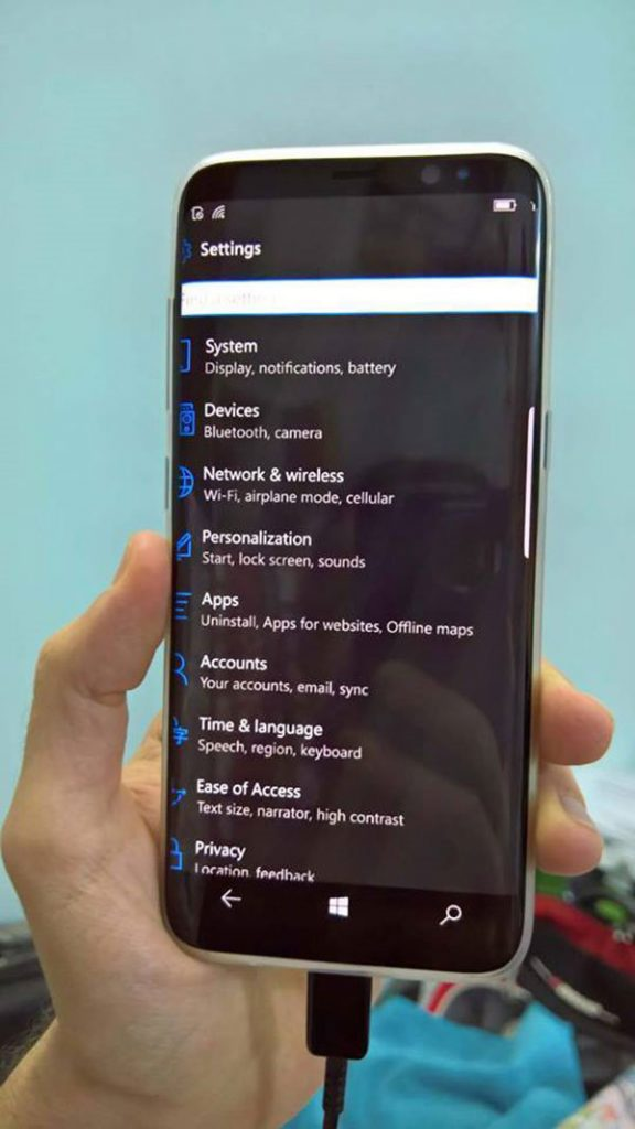 Leaked Shots of Live Samsung Galaxy S8 Windows 10 Mobile Edition Appear  Playfuldroid!