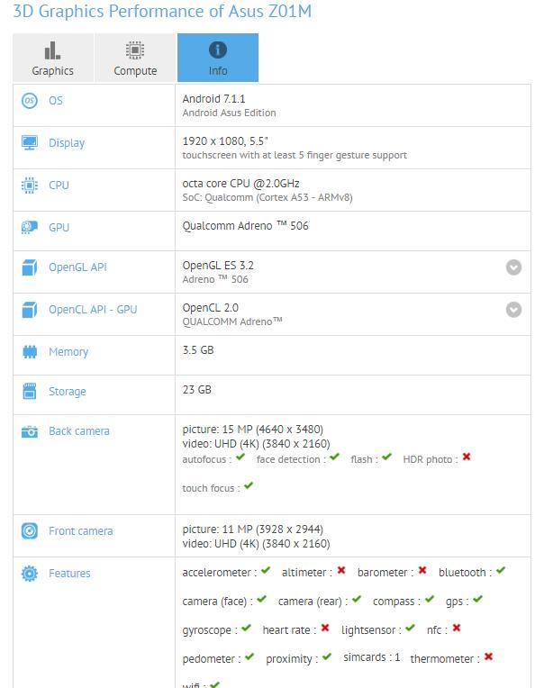 ASUS ZenFone 4 Selfie GFXBench