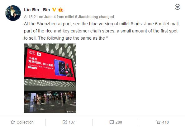 Blue Xiaomi Mi 6 will go on sale starting tomorrow