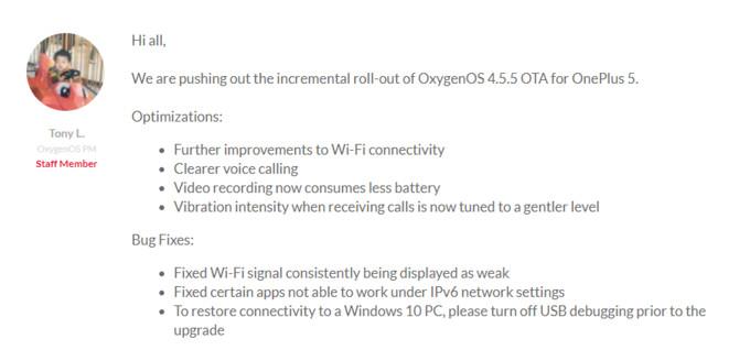 OnePlus 5 receives OxygenOS 4.5.5 update