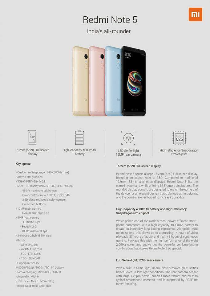Redmi Note 5 Full Specifications