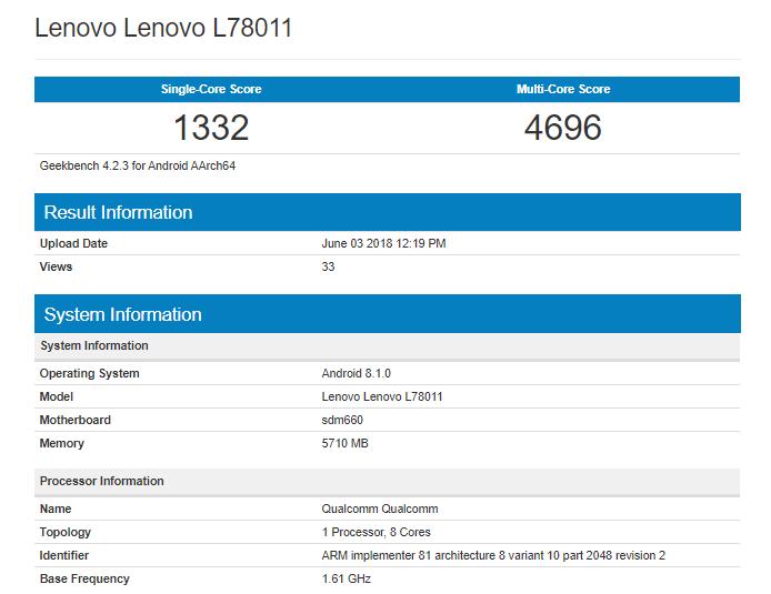 Lenovo L78011 Geekbench