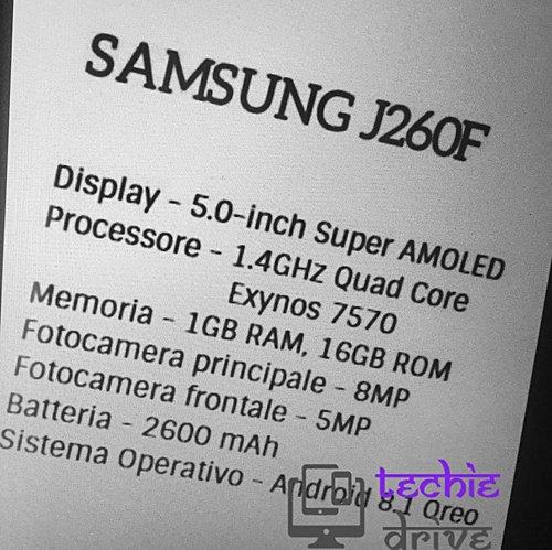 Samsung J260F Specs Sheet