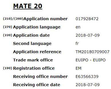 Mate 20 moniker trademarked