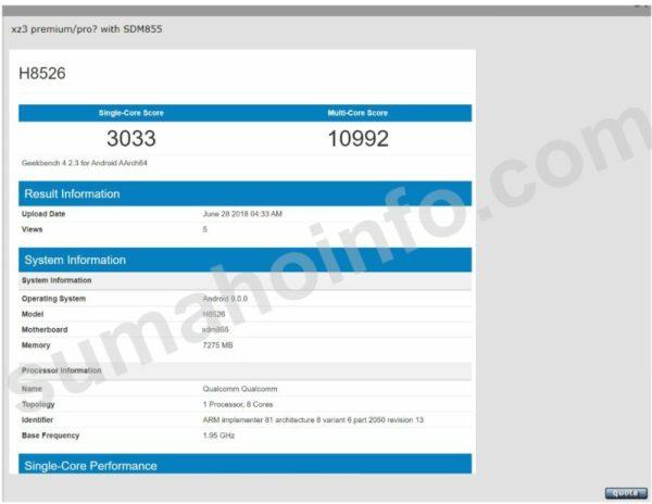 Sony H8526 Geekbench Listing Snapdragon 855