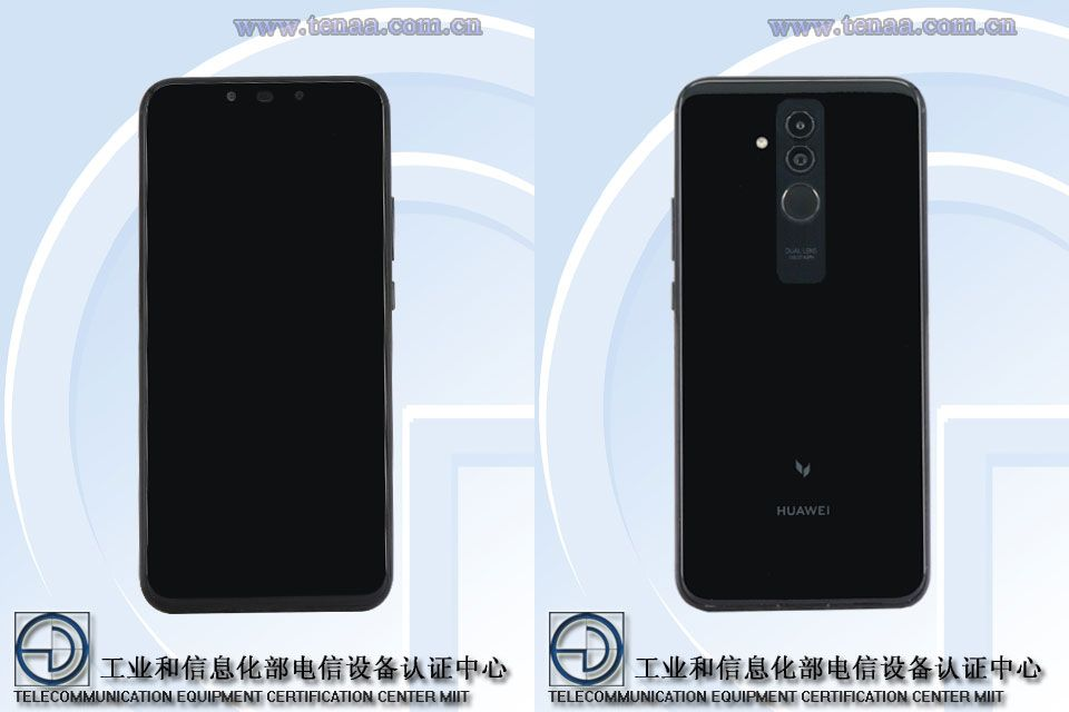 Huawei Mate 20 Lite TENAA front and rear