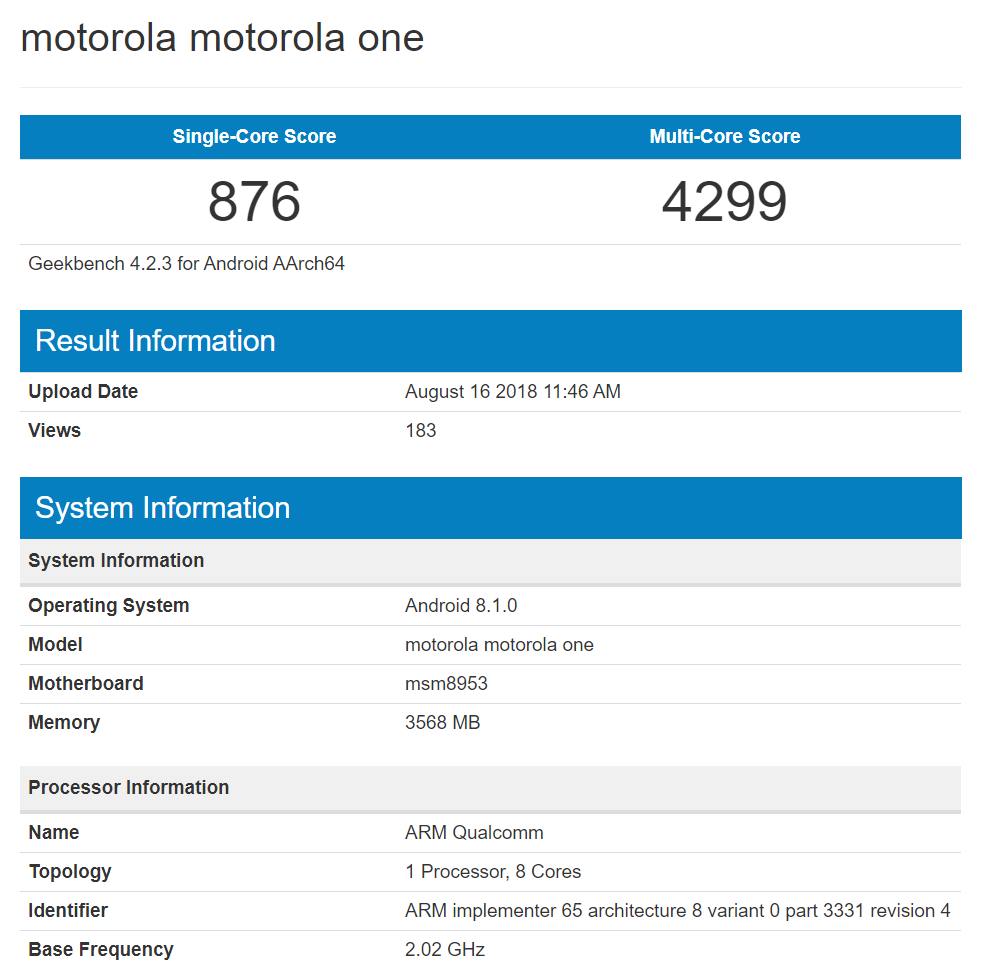 Motorola One Geekbench