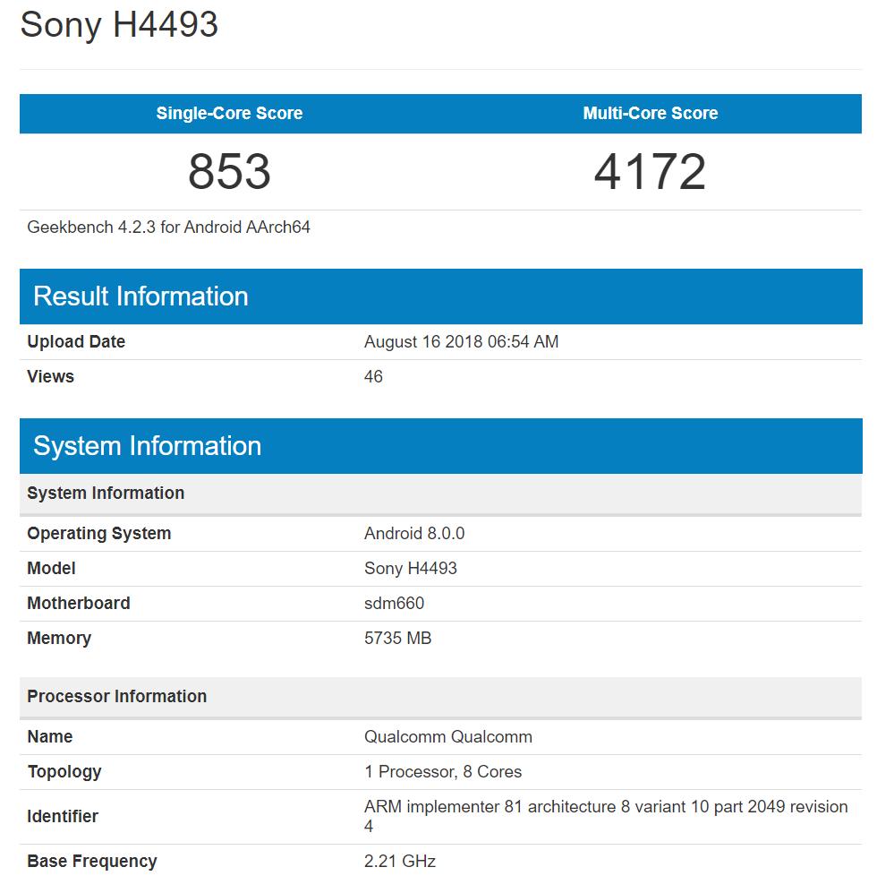 Sony H4493 Xperia XA3 Ultra Geekbench