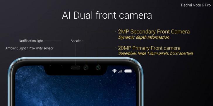 Redmi Note 6 Pro dual front camera