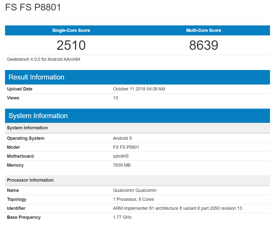 OnePlus 6T Geekbench Listing