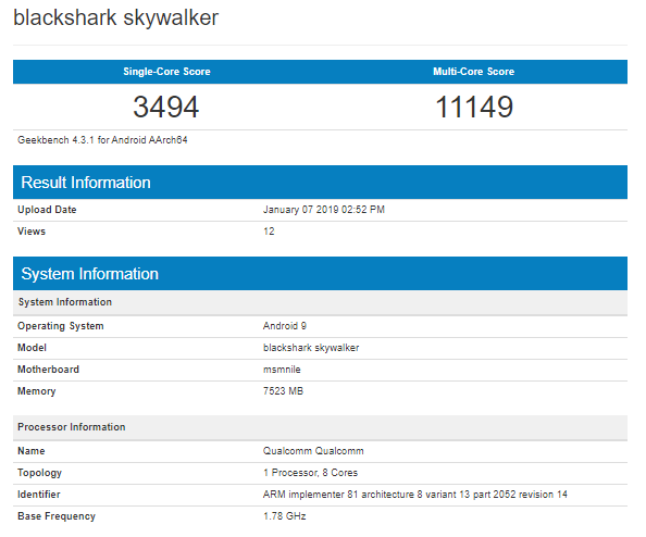 Xiaomi BlackShark Skywalker Geekbench