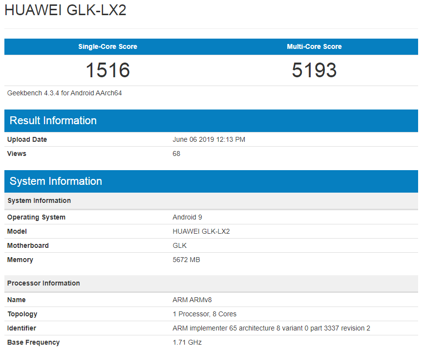 Huawei Nova 5i Geekbench