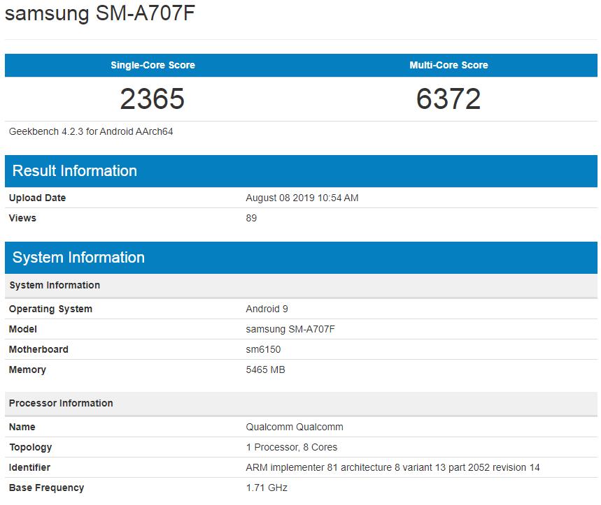 Samsung Galaxy A70s Geekbench