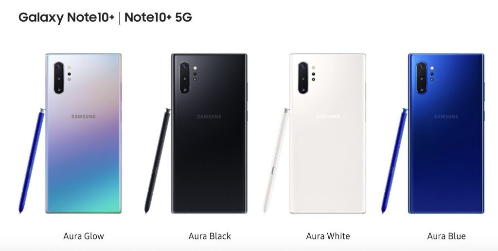 Samsung Galaxy Note 10 Plus Color Options