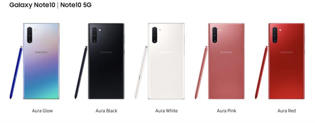 Samsung Galaxy Note 10 Color Options