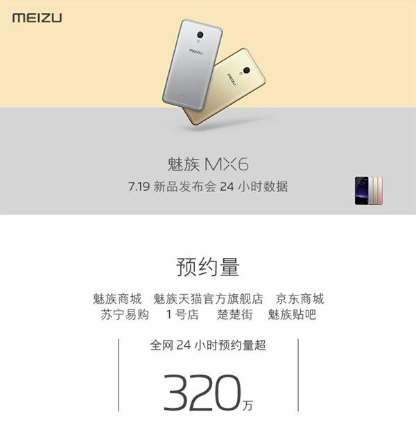 Meizu MX6 3,2 millions d'enregistrements