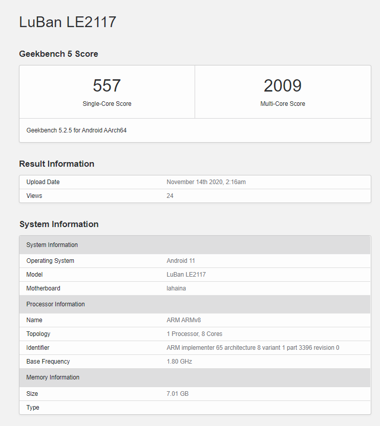Alleged OnePlus 9 Pro Geekbench