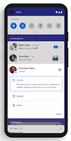 Android 11 Dedicated Messaging Section