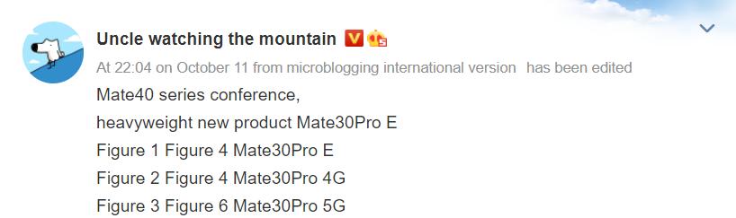Huaei Mate 30 pro F moniker leak